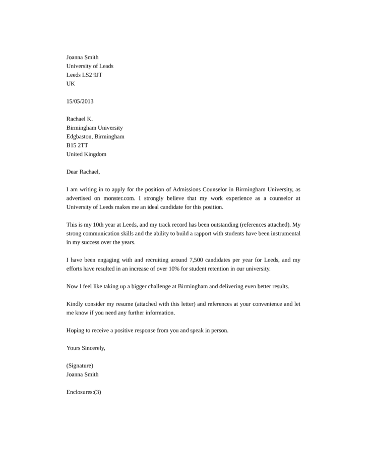 Cover Letter Template Counseling Position | Sample Customer ...