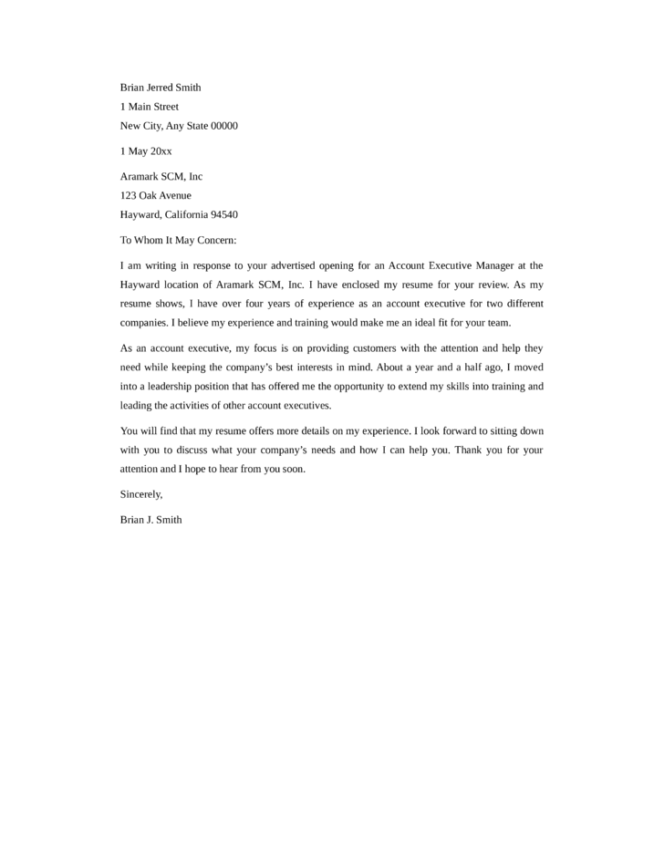 Eira Template Cover Letter Account Executive Cover Letter Sample
