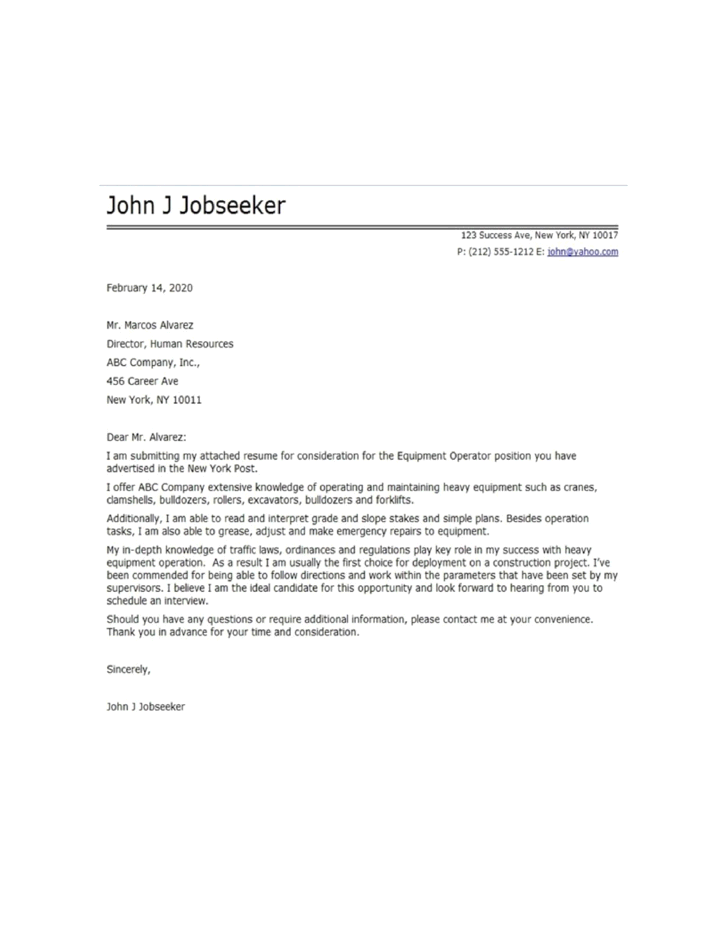 Cover Letter For Heavy Machine Operator