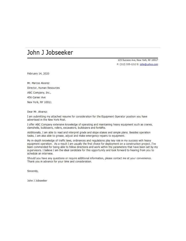 Resume Cover Letter For Heavy Equipment Operator