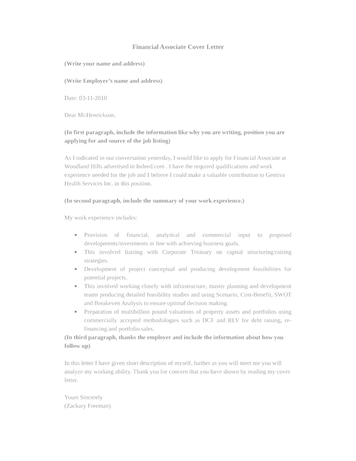 Basic Financial Associate Cover Letter Samples and Templates