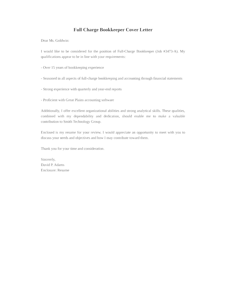Basic Full Charge Bookkeeper Cover Letter Samples and