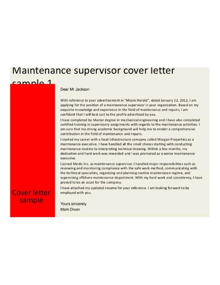 Basic Maintenance Supervisor Cover Letter Samples And