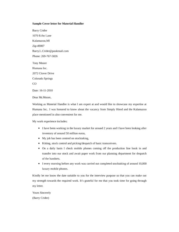 material handling resume material handler sample resume material ...