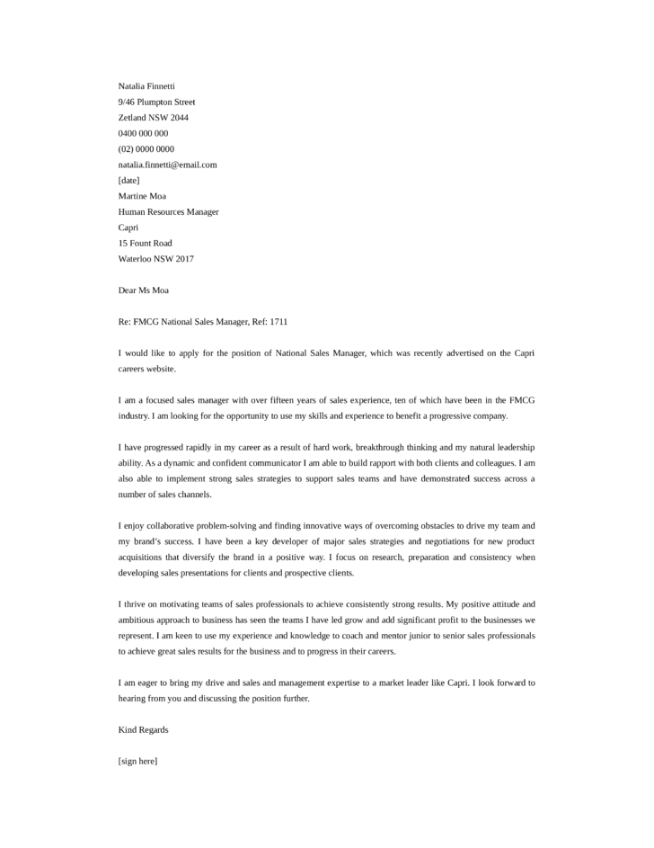 Basic National Sales Manager Cover Letter Samples and Templates