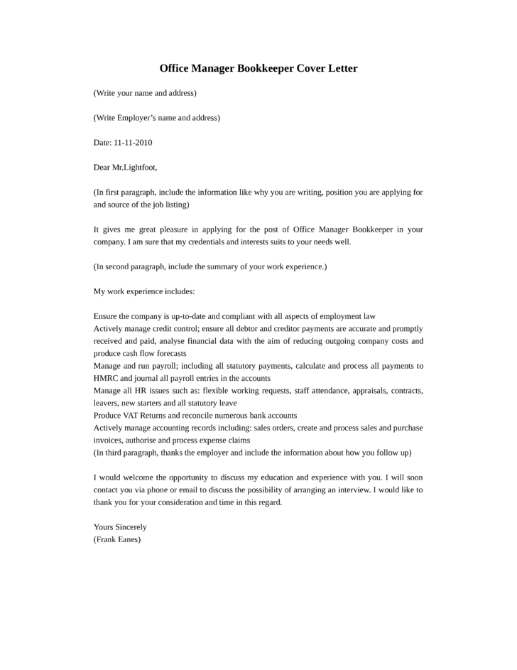 Basic Office Manager Bookkeeper Cover Letter Samples and Templates
