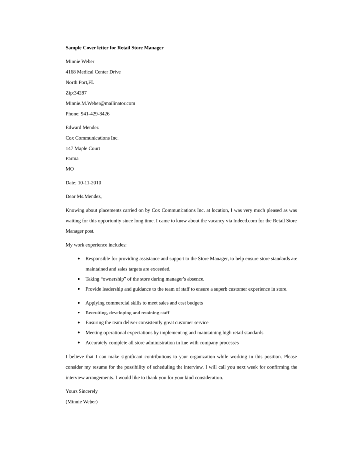 Cover Letter Manager Retail & Fresh Essays