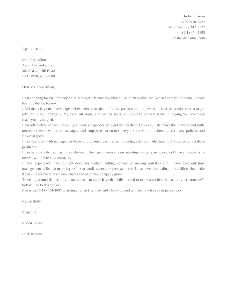 Basic Territory Manager Cover Letter Samples and Templates