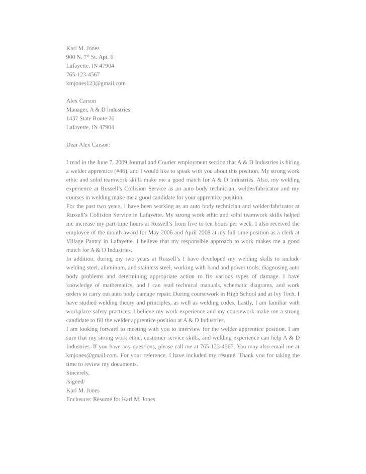 Basic Welder Cover Letter Samples and Templates