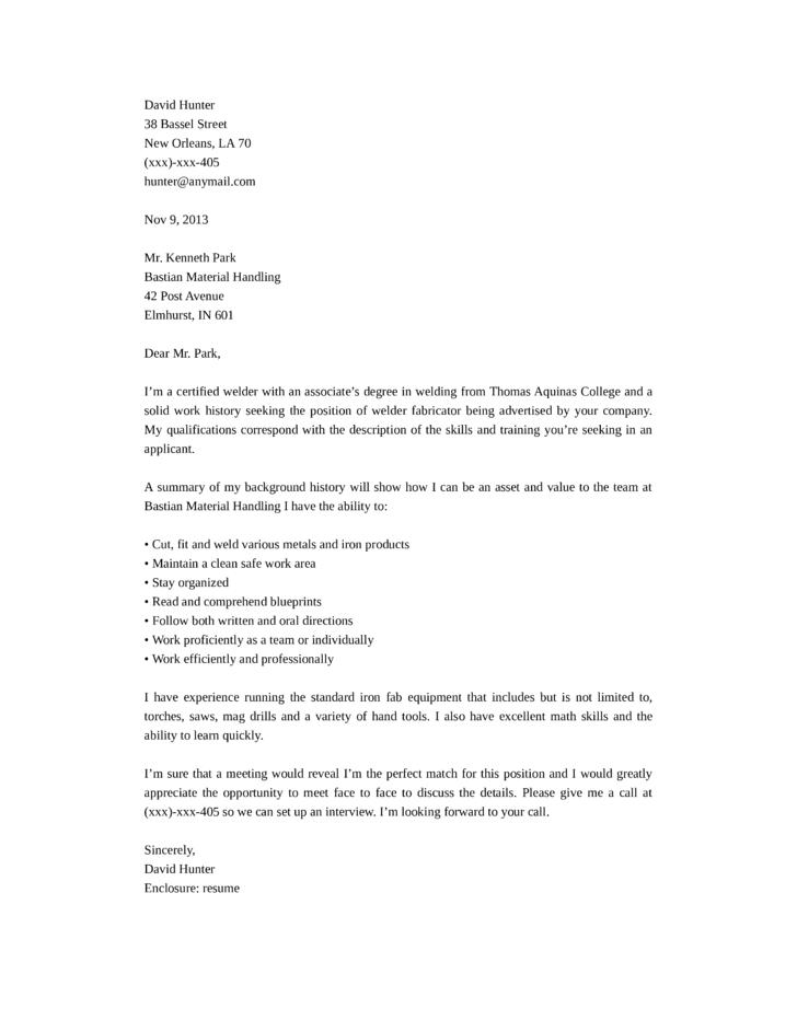Basic Welder Fabricator Cover Letter Samples and Templates
