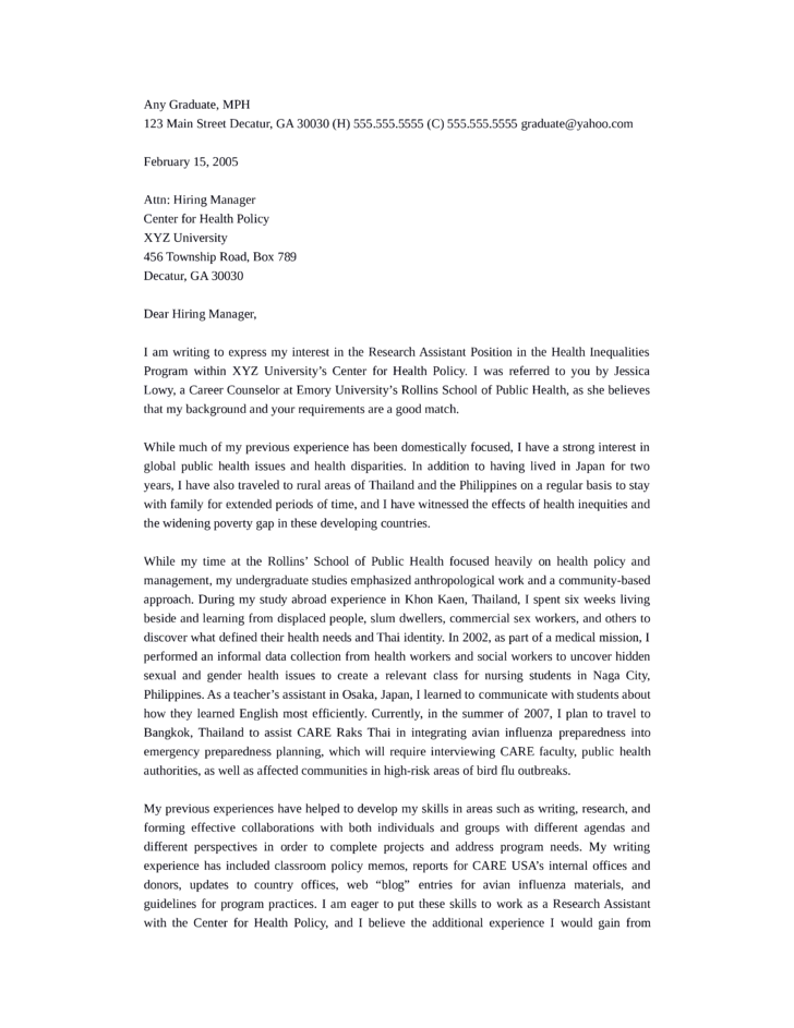Clinical Research Assistant Cover Letter Samples and Templates