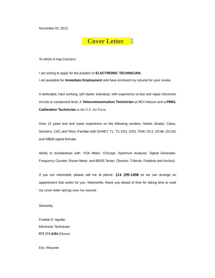 electronics technician cover letter