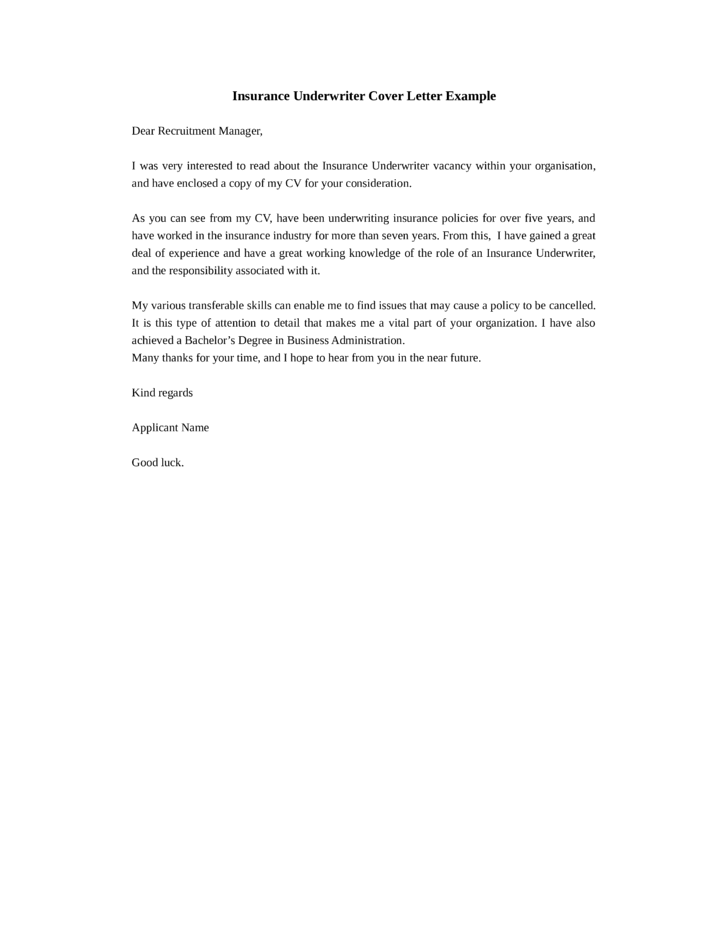 Underwriter Cover Letter Rome Fontanacountryinn Com