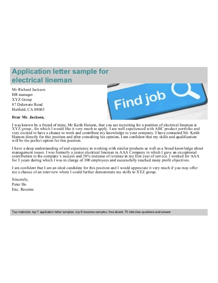 Journeyman Electrical Lineman Cover Letter Samples and