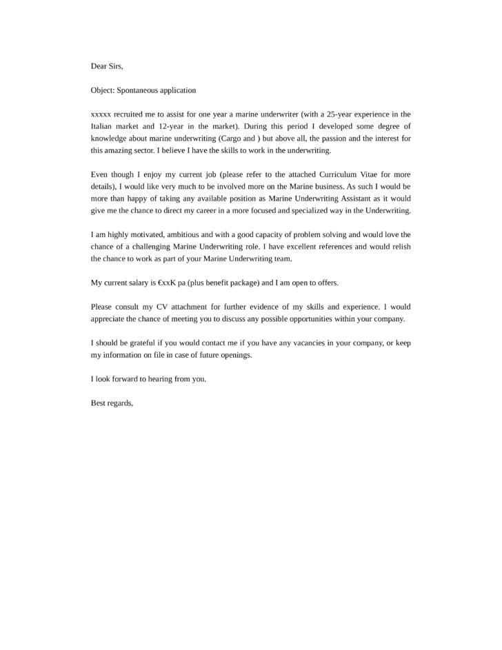 spontaneous application cover letter  Aprilonthemarchco
