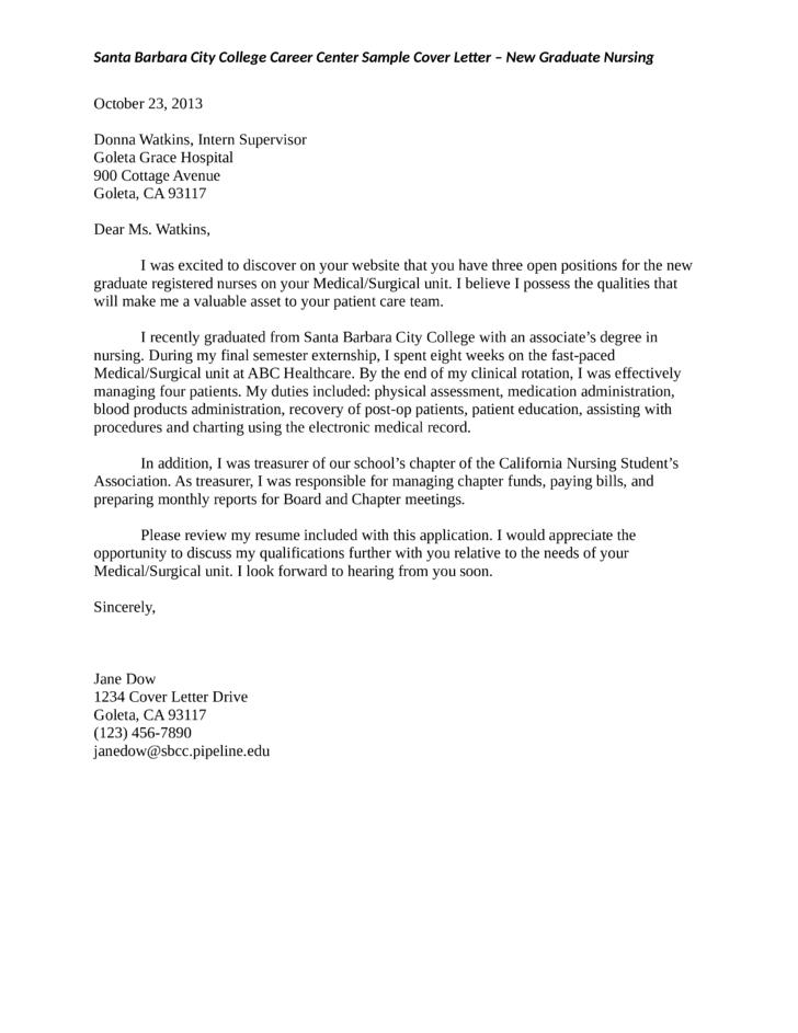 New Graduate Registered Nurse Cover Letter