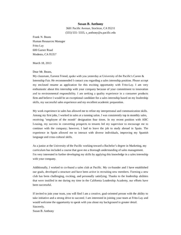 Sales Representative Internship Cover Letter Samples and