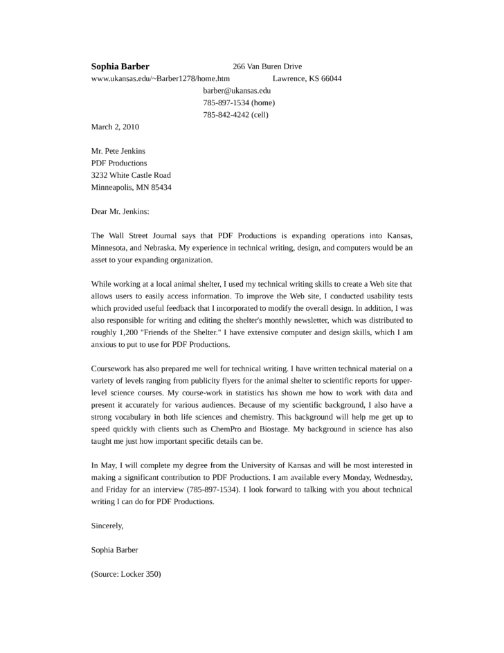 Cover Letter For Technical Writer  Technical Writer Sample Cover Letter Example