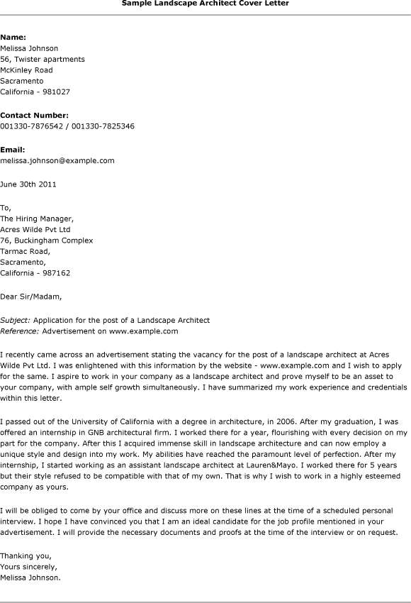 25 Landscape Architecture Cover Letter Pictures And Ideas