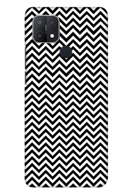 White & Black Zigzag Mobile Cover For Oppo A15S