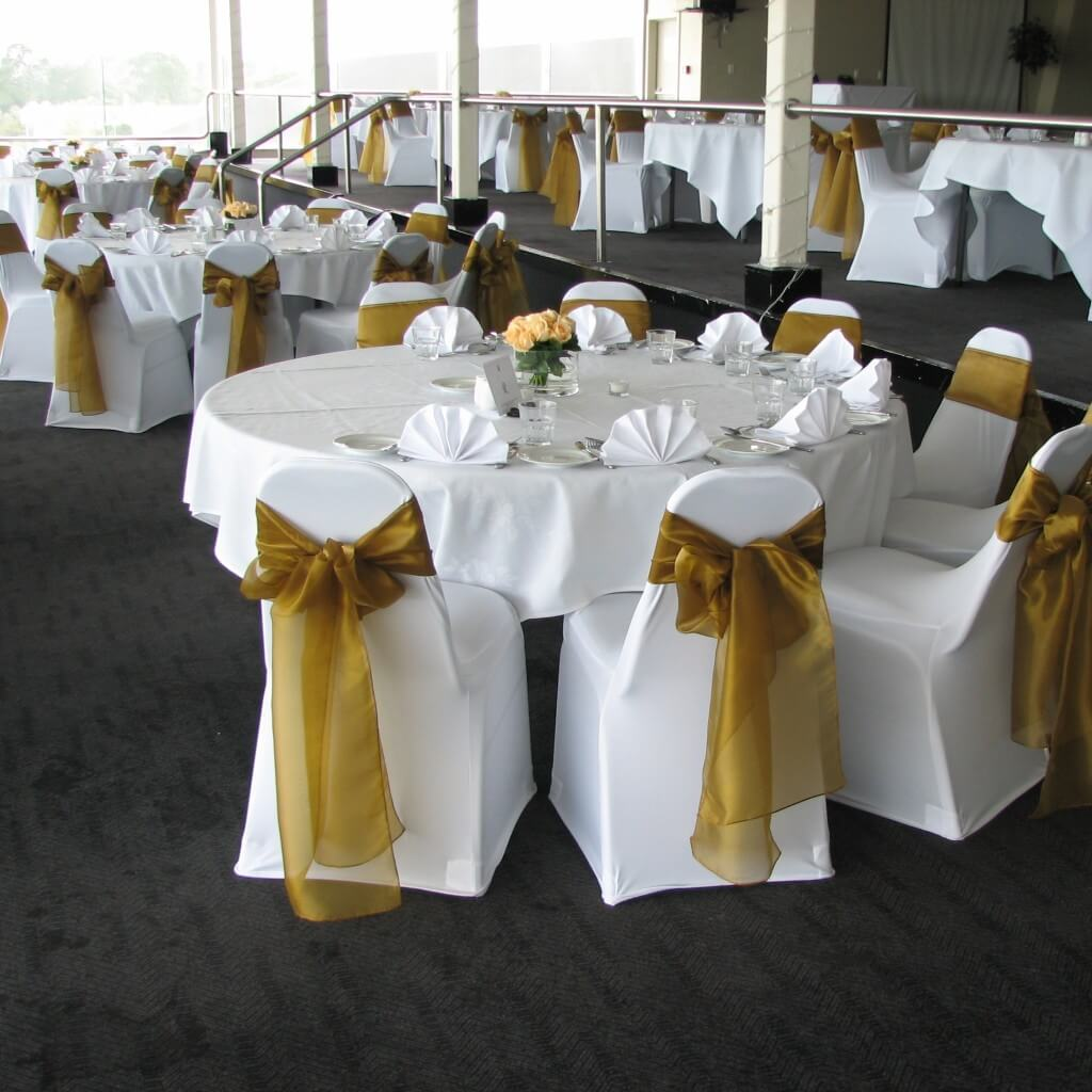White And Gold Chair Covers Decoration Hire Chair Covers For Hire