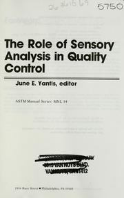 The Role of sensory analysis in quality control (1992