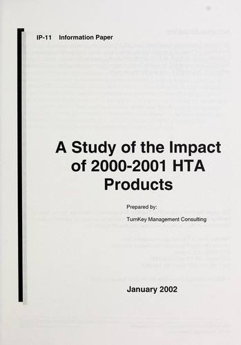 A study of the impact of 2000-2001 HTA products (2002