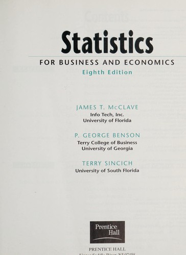 Statistics for business and economics (2001 edition