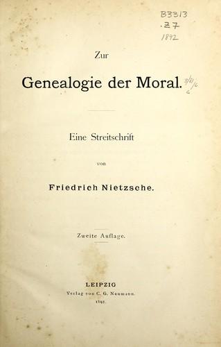 Nietzsche Généalogie De La Morale : nietzsche, généalogie, morale, Genealogie, Moral, (1892, Edition), Library