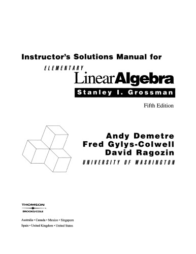 Instructor's Solutions Manual to accompany Elementary