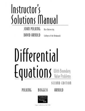 Instructors Solutions Manual for Differential Equations