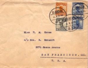 """1932, Buntfrankatur """"Dschunke"""" auf Brief aus Shanghai in die USA"""