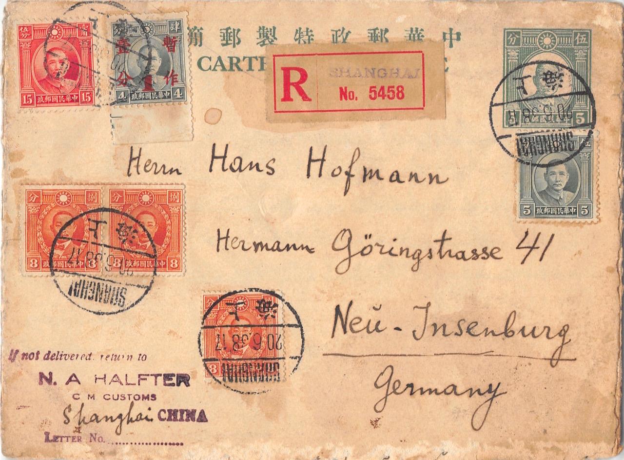 1938, seltener Einschreiben-Kartenbrief (Western Style) aus Shanghai nach Deutschland