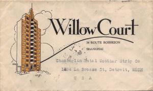 """1935, """"Willow Court"""", ein berühmtes Art Déco-Gebäude Shanghais auf Brief"""