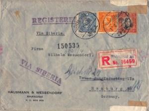 1941, Zensur-Einschreibbrief dritten Gewichtsstufe aus Shanghai nach Deutschland