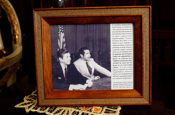 A photo of General Ríos Montt with President Ronald Reagan in the early 1980s, displayed in the general's living room in 2003.