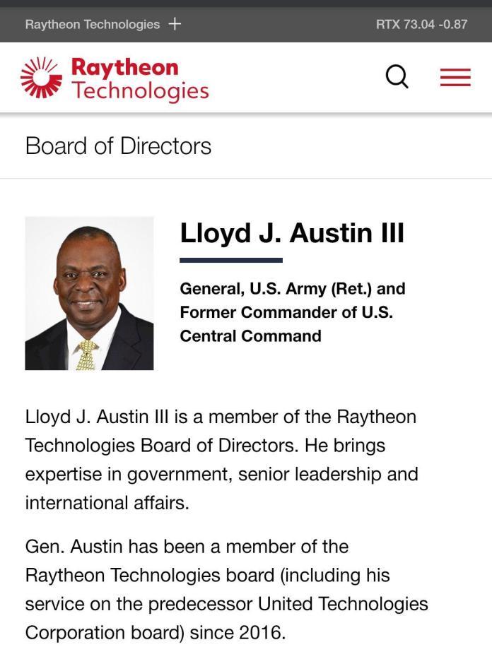 "Ben Norton on Twitter: ""Biden's defense secretary pick Lloyd Austin has  been on the board of directors of arms company Raytheon since 2016. Trump's  defense secretary until last month, Mark Esper, was"