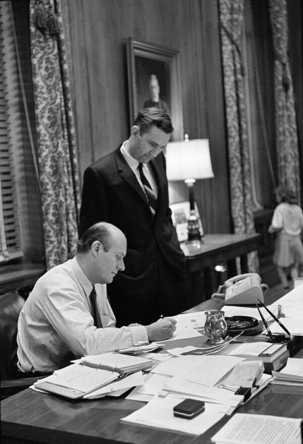 Mr. Clark in 1965, the year he was appointed deputy attorney general, with Attorney General Nicholas deB. Katzenbach. Mr. Clark would succeed Mr. Katzenbach the next year.