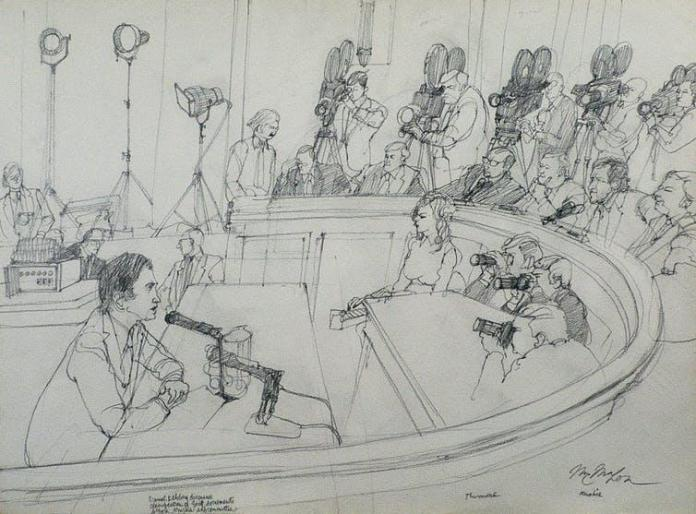 A sketch of Daniel Ellsberg testifying in front of cameras and politicians.
