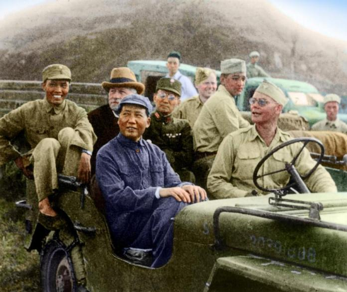 Chinese Communist Party (CCP) leader Mao Zedong and US ambassador to China Patrick J. Hurley (back row) in an American army jeep.