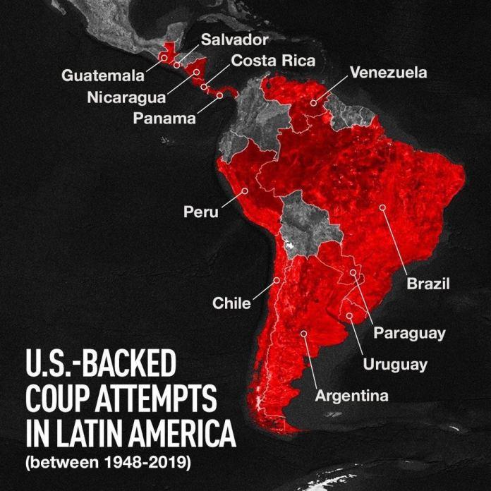 r/MapPorn - U.S. backed coups in Latin America: Costa Rica 1948, Guatemala 1954, Paraguay 1954, Brazil 1964, Peru 1968, Chile 1973, Uruguay 1973, Argentina 1976, El Salvador 1979, Nicaragua 1981, Panama 1989 (invaded), Venezuela: 2002...