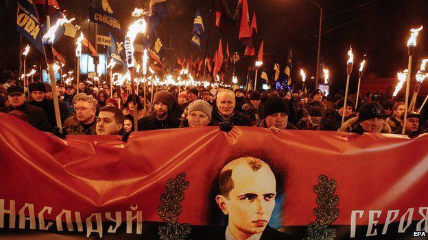 Far right rally in Kiev, 1 Jan 15