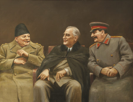 The Big Three - Winston Churchill, Franklin D. Roosevelt and Joseph Stalin  at the Yalta Conference, February 1945 (from an Illustration in Trud)  1102576 | National Trust Collections