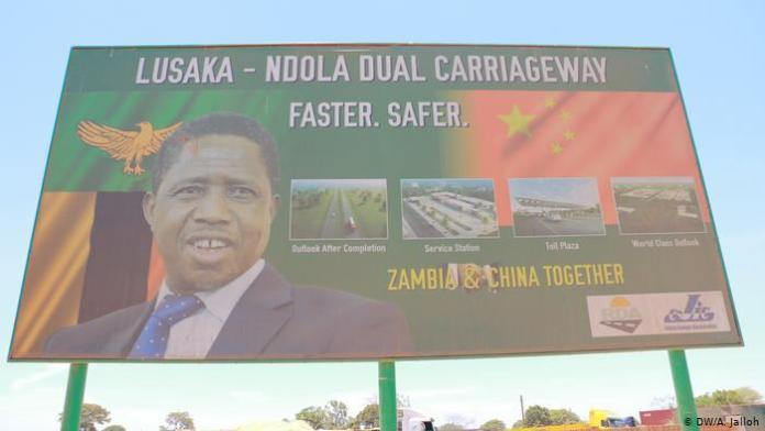 A billboard advertizing the Lusaka-Ndola dual carriageway project