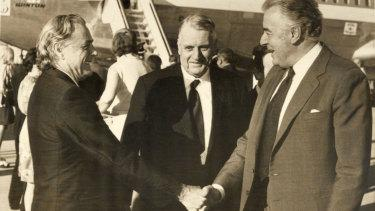 Jim Cairns, Rex Connor and Gough Whitlam in 1975.