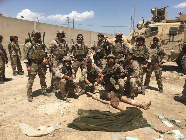 This photo, recovered from Chief Gallagher's phone after the death of an Islamic State fighter, was included in an investigative report by the Navy.