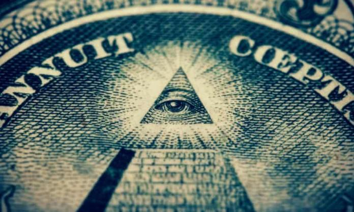 The eye of the Illuminati on a bank note. 'It's good to know that we're much more sensible and rational than these clearly deluded conspiracy theorists.'