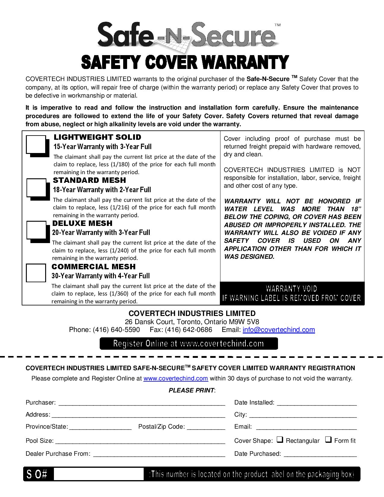 Safety Cover Warranty  Covertech Industries