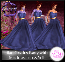 Lilac Garden Party With Modesty Top& Veil