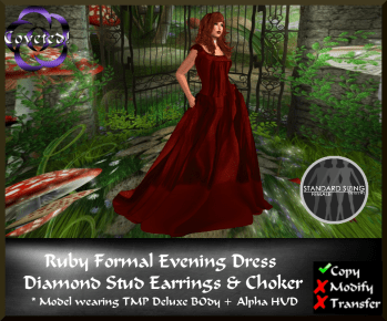 Ruby Formal Evening Dress & Jewelry